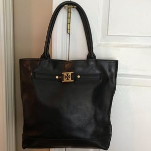 Tory Burch Black Large pebble leather tote bag